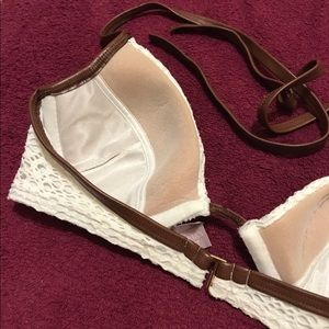 Victoria's Secret Swim - EUC V.S Embroidery Trim Faux Leather Bikini Top